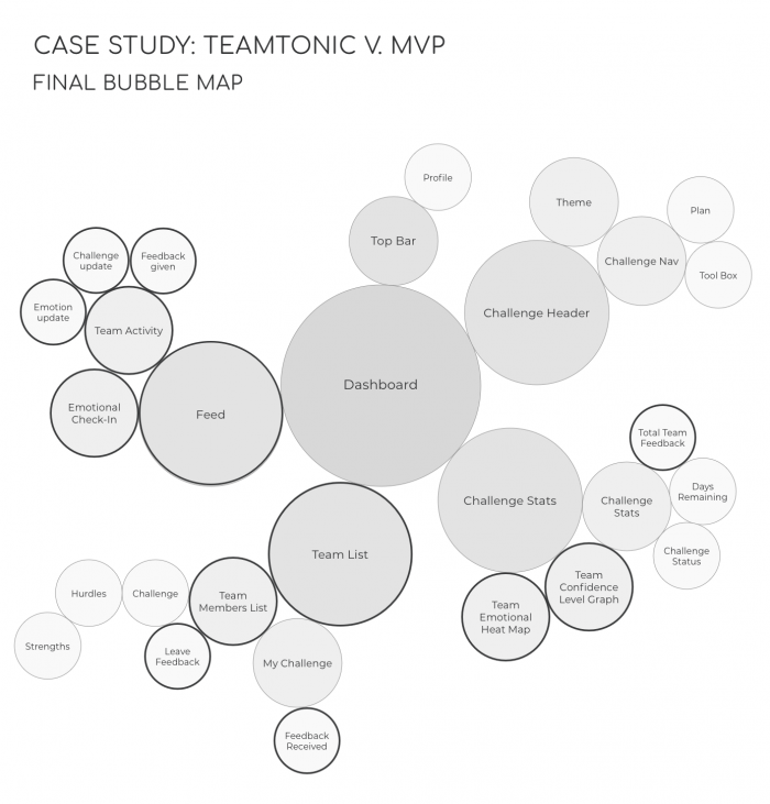 Bubble map of the final web app structure, highlighted: features integrating the concept of teamwork